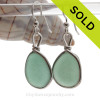 Nice pieces of all natural genuine sea glass in a perfect soft Aqua Green in our original Wire Bezel© Earring Setting in Solid Sterling Silver