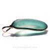 A side view shows you the quality of the sterling work and the flatness of the sea glass piece.