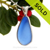 P-E-R-F-E-C-T Large Medium Blue Sea Glass Pendant In Sterling Silver Deluxe Wire Bezel Setting© (ULTRADELUXE20-41)