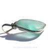 Medium Aqua Blue Genuine Sea Glass Pendant In Sterling Original Wire Bezel Setting©