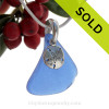 Cobalt Blue Sea Glass Necklace On Sterling Bail With Sterling Sandollar - S/S CHAIN INCLUDED