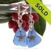 Cobalt Blue Genuine Beach Found Sea Glass On Silver Earrings W/ Starfish Charms