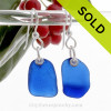 For The Purist -  Blue Genuine Beach Found Simply Sea Glass On Silver Earrings