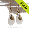 Genuine Pure White Sea Glass Earrings On Gold With Goldfilled Shell Charms AVAILABLE - This is the EXACT pair of Sea Glass Earrings you will receive!