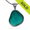 Icelandic Teal or Turquoise Natural Beach Found Sea Glass In Deluxe Sterling Bezel© Necklace Pendant
