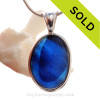 L-A-R-G-E Mixed Midnight Blue English Sea Glass In Sterling Silver Deluxe Wire Bezel© Pendant