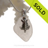 Palest Purple Genuine Main Sea Glass With Sterling Turtle Charm - S/S CHAIN INCLUDED