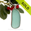 Long and Large Aqua Green Genuine Sea Glass in our In Our Deluxe Sterling Wire Bezel© Necklace Pendant.