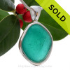 Bumpy Electric Turquoise Genuine Sea Glass in our In Our Deluxe Sterling Wire Bezel© Necklace Pendant.
