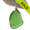 Large VIVID Bottle Side Green Sea Glass Jewelry set in our Original Wire Bezel© pendant setting in Sterling Silver.