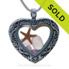 Rare Pale Purple Sea Glass Heart Locket with Starfish and Amethyst Gem