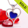 A beautiful small and rare Cobalt Blue  natural sea glass heart set in our deluxe wire bezel pendant setting!  Genuine sea glass hearts are a RARE phenomena and cherished among sea glass lovers!