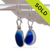 Rare Blue Aqua Mixed Sea Glass Earrings set in our Original Wire Bezel© setting in silver.