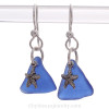 Cobalt Blue Natural Sea Glass Earrings On Sterling W/  Sterling Silver Starfish Charms