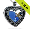 Cobalt Blue Genuine Sea Glass Heart Locket with Starfish and Blue Crystal Gems