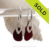 These DEEP Ruby Red Natural Sea Glass pieces really glow hanging from these solid sterling silver Deco Hook Earrings