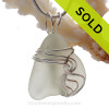 Soft White Natural Sea Glass In Sterling Waves© Setting Pendant for Necklace