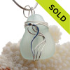 Embossed Soft Palest Green Natural Sea Glass In Sterling Waves© Setting Pendant for Necklace