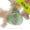Bright Sea Green Genuine Sea Glass Sterling Waves© Signature Sterling Setting Pendant