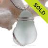 A simple Fresh Pale Aqua Blue Sea glass Pendant set in our triple sterling silver setting.