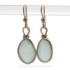 Chunky Thick Pale Aqua Blue Beach Found Sea Glass Earrings In 14K Goldfilled Original Bezel©