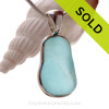 Squarish Embossed Aqua Blue Genuine Sea Glass in our In Our Deluxe Sterling Wire Bezel© Necklace Pendant.
