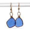 Thinner Lovely Cobalt Blue Genuine Beach Found Sea Glass Earrings In Gold Original Wire Bezel©