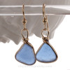 Gorgeous Periwinkle or Cornflower Blue Blue Genuine Lightweight Sea Glass Earrings In Gold Original Wire Bezel©