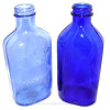 Light blue or cornflower sea glass is much older and rarer than the darker cobalt blue. It was used before printed labels were applied to bottles and when the product name was embossed on the bottle. Bottles and jars from Noxzema, Vicks Vapor Runa nd Phillips Milk of Magnesia bottles (pictured here) have this history.