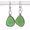 PERFECT Triangles of Green Beach Found Sea Glass In Sterling Silver Original Bezel© Earrings