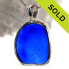Huge Squarish Cobalt Blue Sea Glass Bottle Bottom In Sterling Silver Deluxe Wire Bezel© Setting