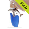 """LARGE Mother and baby Dolphin Sterling Silver Necklace with Cobalt Blue Large Sea Glass - 18"""" STERLING CHAIN INCLUDED"""