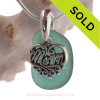 For MOM -Aqua Green Sea Glass With Sterling Mom Charm - S/S Snake CHAIN INCLUDED