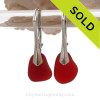 Ruby Red Natural Sea Glass pieces really glow hanging from these solid sterling silver leverback earrings.