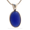 Thick Cobalt Blue English Sea Glass In Sterling Silver Deluxe Wire Bezel© Pendant