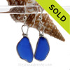 Long Organic Thicker  Cobalt  Blue Sterling Sea Glass Earrings In Sterling Original Wire Bezel©
