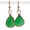Unusual Saturated Green Genuine Sea Glass Earrings In Gold Original Bezel©