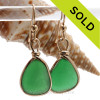 Natural Genuine UNALTERED sea glass pieces in a Vivid Unusual Green expertly wrapped in 14K Rolled Gold for a lovely classic pair or earrings!