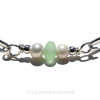 A detail of this Sea Glass Bracelet shows you the beautiful sea glass pieces with sterling silver beads.