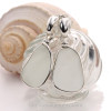 XTRA LARGE White Sea Glass In Original Wire Bezel© Earrings On Posts