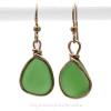 Simple Elegant Green Genuine Sea Glass Earrings In Gold Original Bezel©