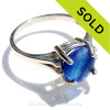 A stunning simple mixed blue Seaham  EndOfDay sea glass ring perfect for any sea glass lover!