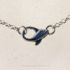 The solid sterling silver Dolphin Clasp used in this jewelry piece.