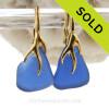 Cobalt Blue Beach Found Sea Glass Earrings on 24K Gold Vermeil Coral Branch Leverbacks