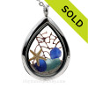 Water Drop - Genuine Aqua & Blue Sea Glass With Beach Sand. Starfish and Sea Fan in a Stainless Water Drop Locket