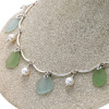 June Fling- Limited Edition Pastel Sea Glass On Sterling Silver Curved Necklace With Real Pearls