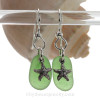 Beach Found Brilliant Green Sea Glass Earrings On Sterling W/ Solid Sterling Starfish Charms