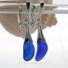 Vivid Thick Cobalt Blue Sea Glass on Solid Sterling Silver Deluxe Dangly Leverbacks