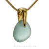 """Petite Aqua Blue Sea Glass Necklace on 24K Vermeil Bail with Chain (18"""" Goldfilled Chain INCLUDED)"""