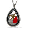 Beautiful  piece of genuine  Ruby Red  sea glass  a real starfish, a bit of vintage sea fan, in this water drop shaped solid Stainless Steel Magnetic Locket. . A FREE 24 Inch chain is included but Sterling options are available. Sand from Siesta Key finishes the piece for your own personal beach-on-the-go!